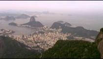 Aerial Pan of landscape variation - Rio de Janeiro, Brazil.