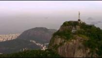 Aerial side view of Christ the Redeemer - Rio de Janeiro, Brazil.