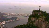 Lagoa, Cristo Redentor, Rio de Janeiro, and the Atlantic - aerial footage.