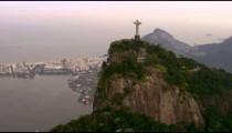 Aerial video of Christ statue, Lagoa, and Rio de Janeiro.