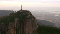 Brazilian Highland geology and Christ the Redeemer statue - aerial footage.