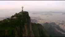 Famous Rio de Janeiro Landmark - Christ the Redeemer Statue - aerial footage.