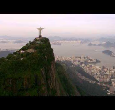 Aerial footage of famous Christ Statue - Rio de Janeiro, Brazil.