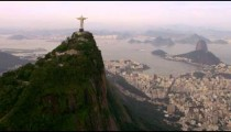 Aerial shot of landscape, landmarks, and architecture -Rio de Janeiro, Brazil.