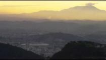 Still clip of the morning sky in Rio de Janeiro over a cityscape