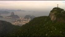 Aerial pan from Atlantic Ocean to Corcovado.