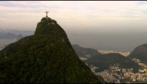 Helicopter footage of Rio de Janeiro and Christ statue.