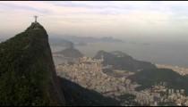 Helicopter shot of Rio de Janeiro and Cristo Redentor.