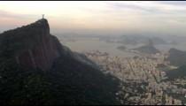 Aerial footage of Christ the Redeemer, Rio de Janeiro, and Ocean.
