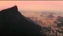 Helicopter shot of Christ the Redeemer and neighboring Rio de Janeiro neighborhoods.