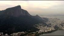 Aerial footage of geography and Rio de Janeiro's coastline.