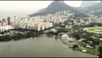 Aerial view of Lagoa, Jockey Club, and Mountains - Rio de Janeiro, Brazil.