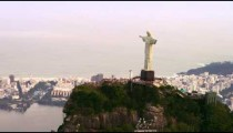 Aerial shot of tourists and Christ Statue.