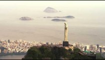 Aerial footage of Christ the Redeemer on top of famous Corcovado mountain.