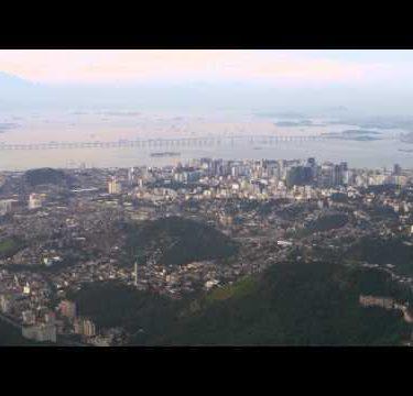 Aerial shot of Rio city with Niteroi bridge.