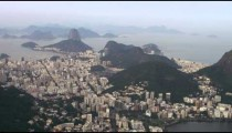 Aerial footage of rio city with lagoa and atlantic ocean.