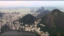Aerial shot of Rio de janeiro city and lagoa with mountains.