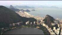 Aerial shot of bay and atlantic ocean in Rio.