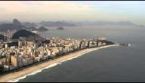 Aerial shot of open atlantic ocean and shoreline in Rio.