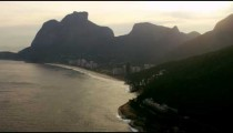 Aerial shot of cliffs on the edge of the shoreline in Rio.