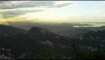 Short pan of the hills of Rio de Janeiro under a sunset