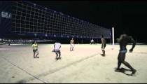 Shot of night volleyball game on Copacabana beach.