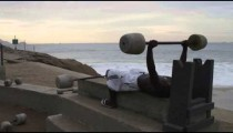 Pan shot of the cement exercise equipment found at Ipanema Beach in Rio de Janeiro