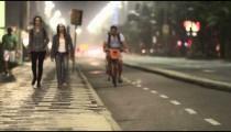 Static shot of biking lane and sidewalk in Rio.