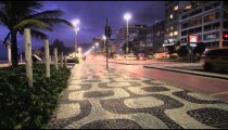 Static shot of traffic and sidewalk pattern in Copacabana.