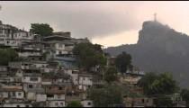 Static shot of shanties at the base of Corcovado Mountain in Rio de Janeiro, Brazil