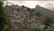 Blurred static shot of shanties at the base of Corcovado Mountain in Rio de Janeiro, Brazil