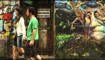 RIO DE JANEIRO, BRAZIL - JUNE 23: Slow motion, wall paintings on June 23, 2013 in Rio de Janeiro