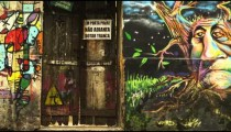 RIO DE JANEIRO, BRAZIL - JUNE 23: Slow motion, wall graffiti on June 23, 2013 in Rio de Janeiro