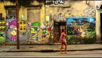 RIO DE JANEIRO, BRAZIL - JUNE 23: Slow motion, wall art on June 23, 2013 in Rio de Janeiro