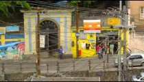 Slow motion shot of buildings and people in Rio de Janeiro, Brazil
