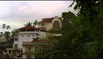 Panning shot of houses in Rio de Janeiro, Brazil