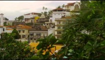 Slow panning shot of a residential community in Rio de Janeiro, Brazil