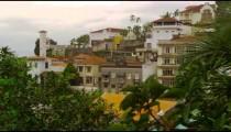Panning shot of residential condominiums in Rio de Janeiro, Brazil