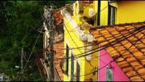 Tilting shot of a middle class neighborhood and a favela in Rio de Janeiro, Brazil