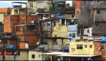 Panning shot of a favela in Rio de Janeiro, Brazil