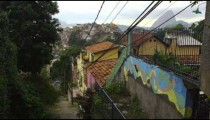 Shot of a neighborhood in Rio de Janeiro overlooking a favela