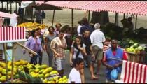 RIO DE JANEIRO, BRAZIL - JUNE 23: Slow motion pan, people at market on June 23, 2013 in Rio, Brazil