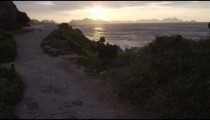 Slow motion tracking shot of hiking path at at sunset in Rio de Janeiro
