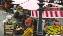 RIO DE JANEIRO, BRAZIL - JUNE 23: Slow motion pan market activities on June 23, 2013 in Rio, Brazil