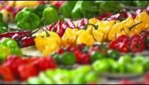 Close-up rack shot of pepper varieties in a market in Rio de Janeiro, Brazil
