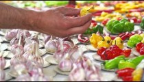 Static shot of garlic and different varieties of pepper in a market in Rio de Janeiro, Brazil