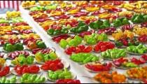 Panning shot of pepper varieties for sale in a market in Rio de Janeiro, Brazil