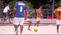 RIO DE JANEIRO, BRAZIL - JUNE 23: Slow motion pan - soccer game on June 23, 2013 in Rio, Brazil
