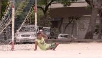 RIO DE JANEIRO, BRAZIL - JUNE 23: Slow motion - goalie blocks ball on June 23, 2013 in Rio, Brazil
