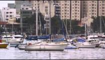 Panning shot of boats at a marina in Rio de Janeiro, Brazil